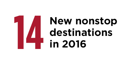 14 new nonstop destinations in 2016