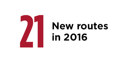 21 new routes in 2016
