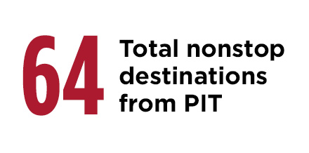 64 Total nonstop destinations from PIT